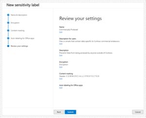 Review Sensativity label settings