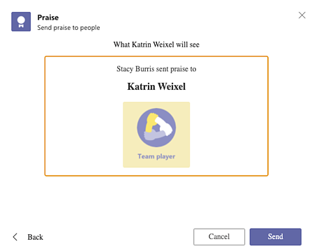 Teams chat praise send