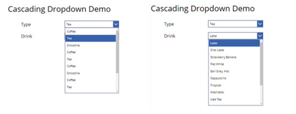 cascading drop-down demo