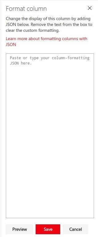 JSON Column Formatting