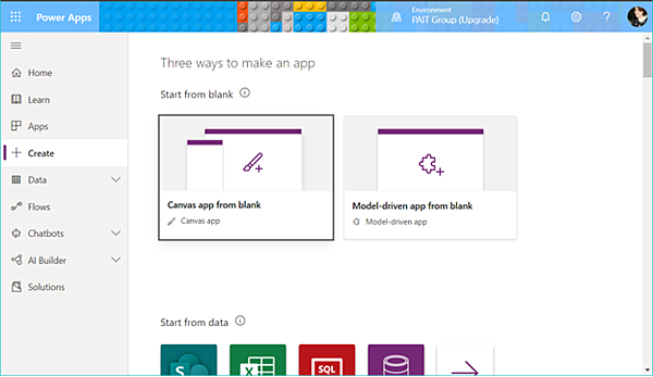 PowerApps Create Canvas app from blank