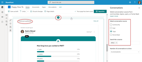 Yammer webparts in SharePoint