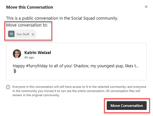 Yammer and Moving a conversation