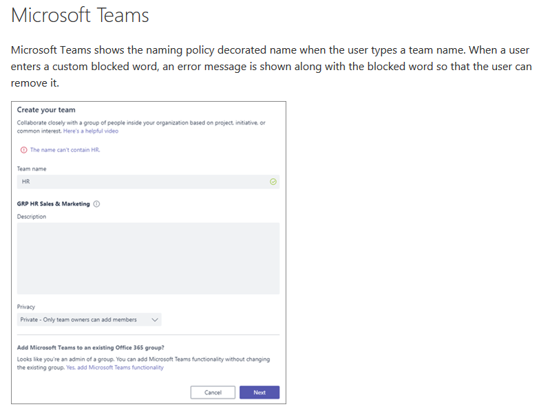 Naming Policies Support for Microsoft Teams and Office 365