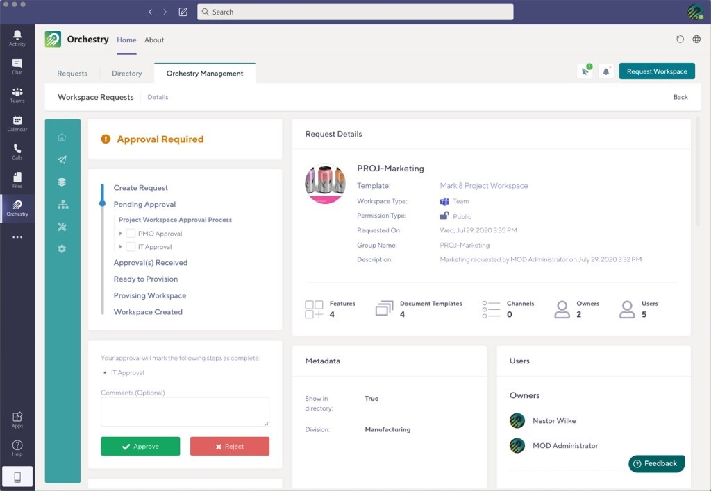 Standardizing Workspace Approval Workflows with Orchestry / Image description: Orchestry standardizes Workspace Approval Workflows for Microsoft Teams and SharePoint Online