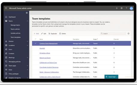 Microsoft Teams Templates / Description: Choose different out-of-the-box Microsoft Teams Templates